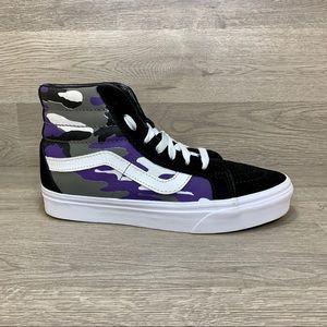 Vans Off The Wall Old Skool High Top Black Purple Camo Skateboarding Sneaker